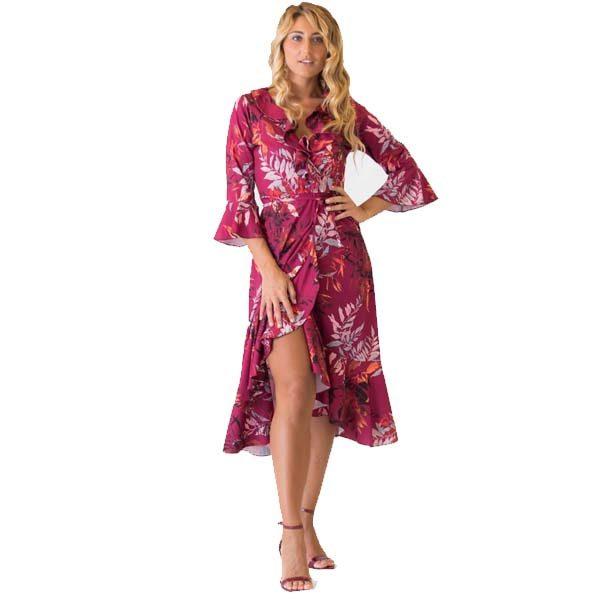 Plum Floral Wrap Dress