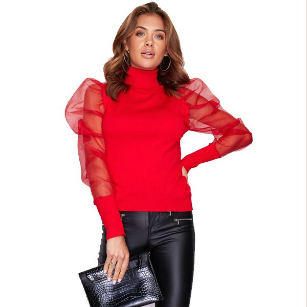 Red Chiffon Puff Sleeve Top