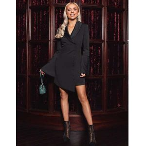 Rosie Connolly Black Button Tuxedo Dress