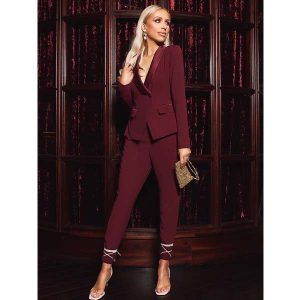 Burgundy Tailored Backless Jumpsuit