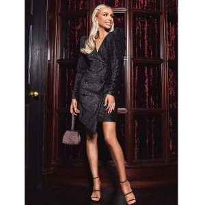 Rosie Connolly Puff Shoulder Diamante Dress