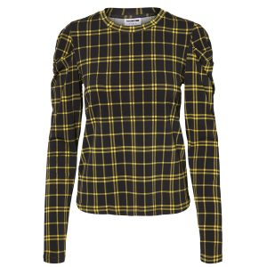 Black And Yellow Tartan Frill Shoulder Top