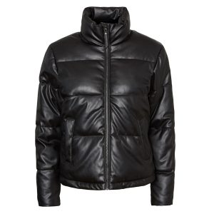 Black Leather Look Puffa Jacket