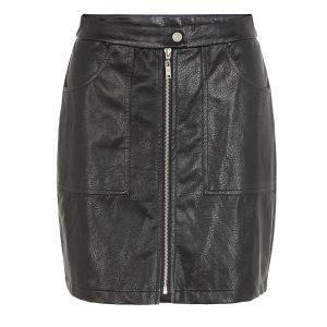 Black Leather Zip Detail Skirt