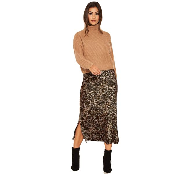 Black Leopard and Khaki Satin Midi Skirt