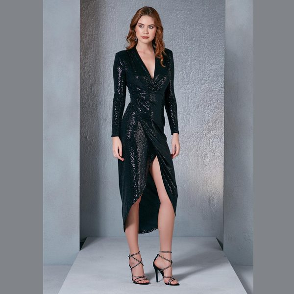Black Sequin Midi Dress