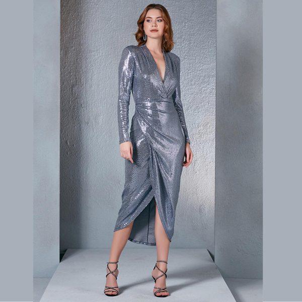 Silver Blue Sequin Midi Dress