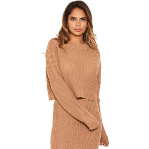 Camel Cropped Knit Jumper