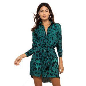 Dancing Leopard Mini Shirt Dress Green LeopardDancing Leopard Mini Shirt Dress Green Leopard
