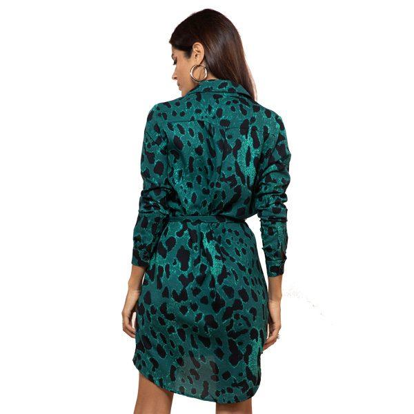 Dancing Leopard Mini Shirt Dress Green Leopard