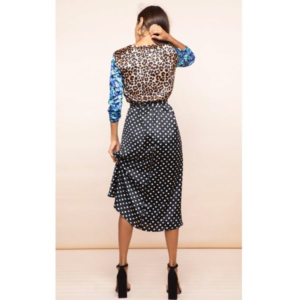Dancing Leopard Yondal Dress Black Dotty and Blue Floral Mix
