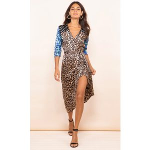 Dancing Leopard Yondal Dress Rich Leopard and Blue Floral Mix