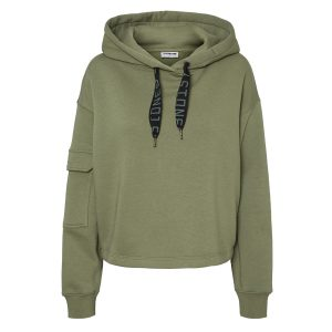 Khaki Hoody With Pocket Detail Sleeve