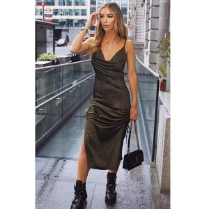 Khaki Satin Ruched Midi Dress