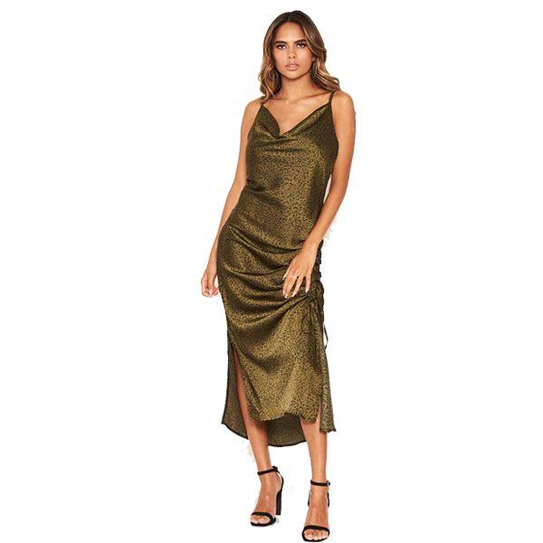 Khaki Satin Ruched Midi Dress