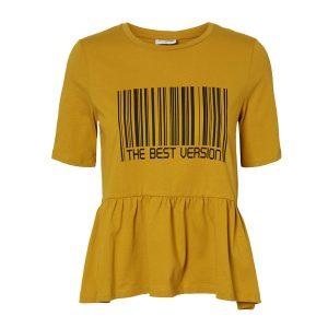 Mustard Barcode Frill T-shirt