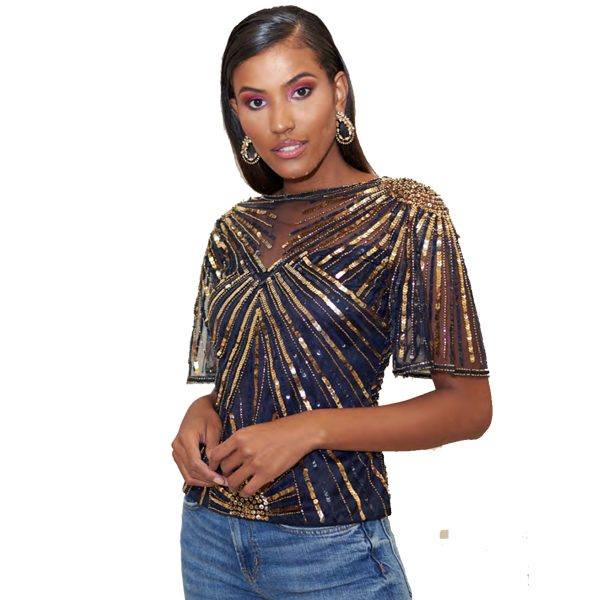 Virgos Lounge Navy And Gold Sequin Top