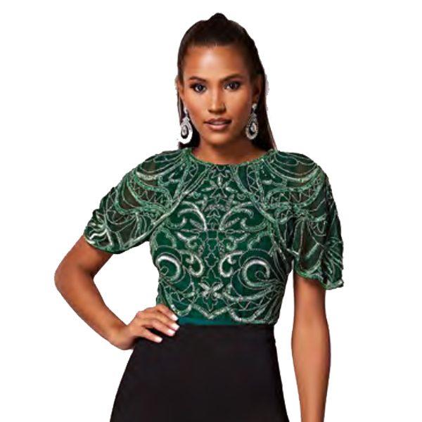 "Virgos Lounge Green Embellished ""Gisella"" Bodysuit"