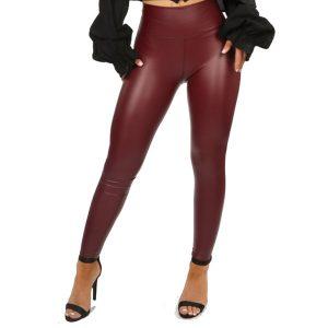Burgundy High Waist Leather Look Leggings