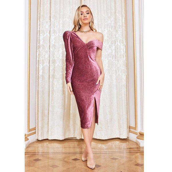 Rosie Connolly Diamante Velvet Statement Shoulder Midi Dress in Rose Pink