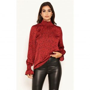 Wine Polka Dot High Neck Top