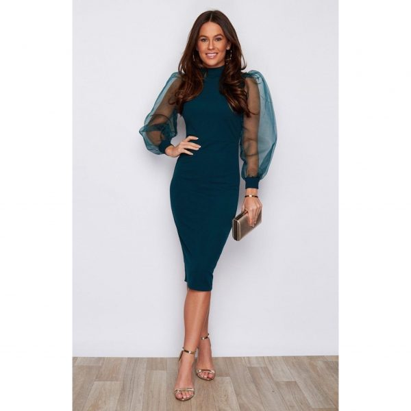 Teal Chiffon Sleeve Dress