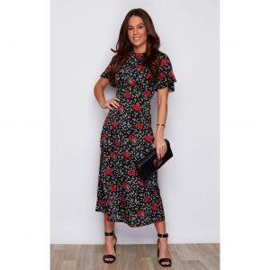 Black Rose Print Midi Dress