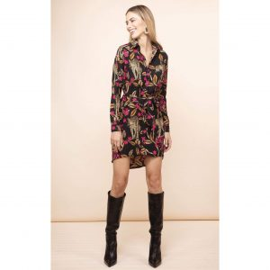 Dancing Leopard Amaris Mini Shirt Dress Leopards in Vines
