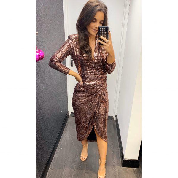 Rose Gold Sequin Midi Dress