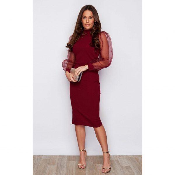 Burgundy Chiffon Sleeve Dress