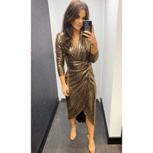 Yellow Gold Sequin Midi Dress