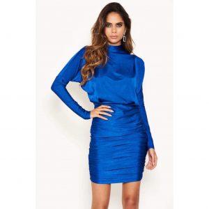 Blue Ruched High Neck Mini Dress