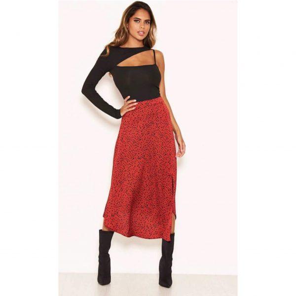 Wine Polka Dot Satin Skirt