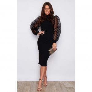 Black Chiffon Sleeve Polka Dot Dress
