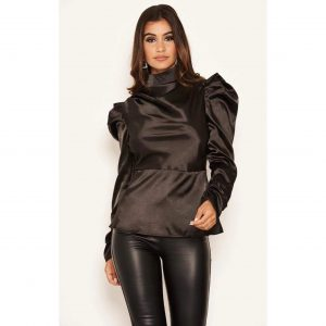 Black Ruched High Neck Satin Top
