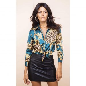 Dancing Leopard Nevada Shirt Teal Baroque