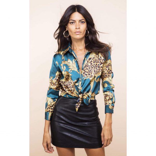 Dancing Leopard Nevada Shirt Teal Baroque