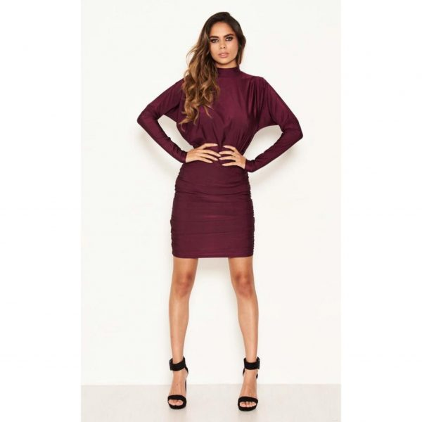 Plum Ruched High Neck Mini Dress