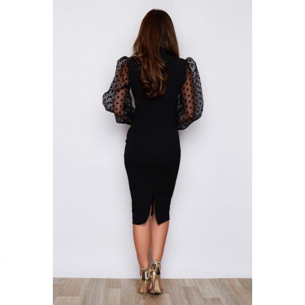 Black Chiffon Sleeve Polka Dot Dress
