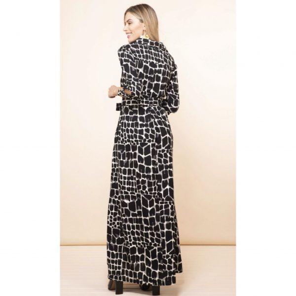 Dancing Leopard Dove Dress in Black and White Alligator Print