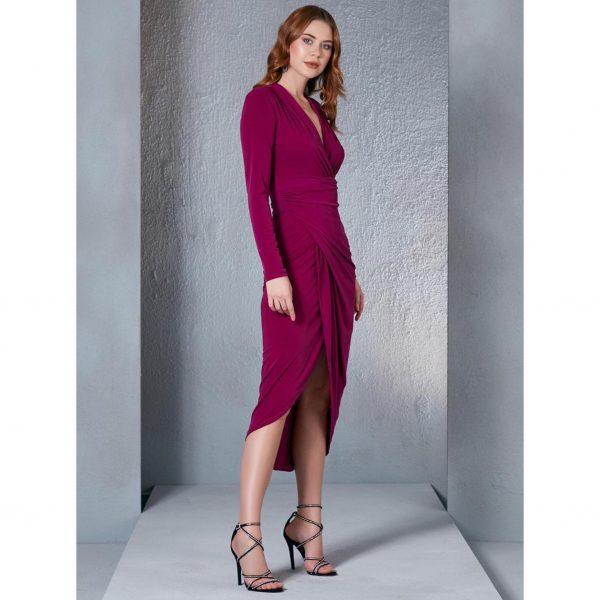 Fuchsia Wrap Midi Dress