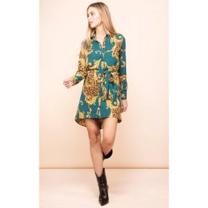 Dancing Leopard Amaris Mini Shirt Dress Green Baroque
