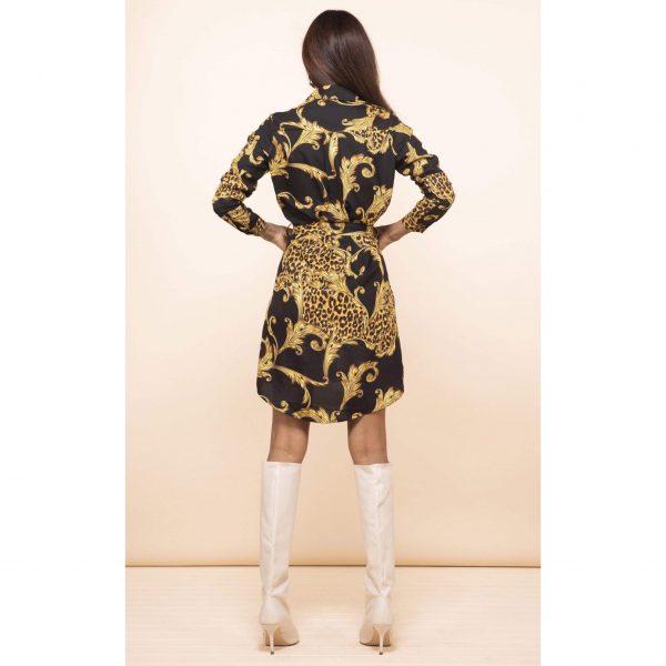 Dancing Leopard Amaris Mini Shirt Dress Black Baroque