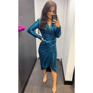 Blue Sequin Midi Dress