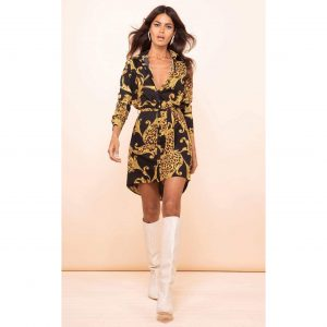 Dancing Leopard Amaris Mini Shirt Dress Black Baroque