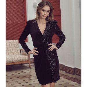 Black Sequin and Velvet Dress