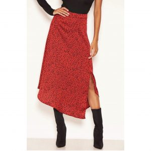 Wine Polka Dot Satin Skirt