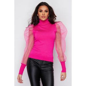 Pink Chiffon Puff Sleeve Top