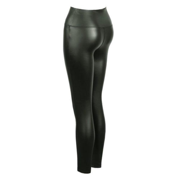 Khaki High Waist Leather Look Leggings