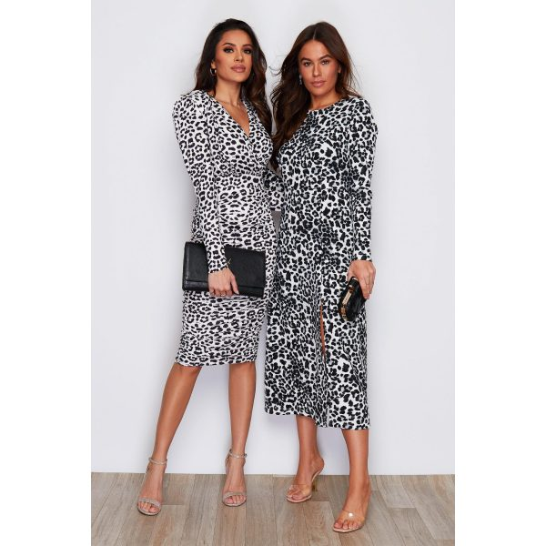 Black And White Leopard Ruched Dress